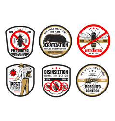 Cockroach mosquito and pest control icons vector