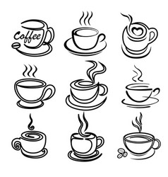 coffee cup art draw set for logo design template vector image