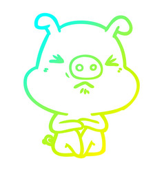 Cold gradient line drawing cartoon angry pig sat vector