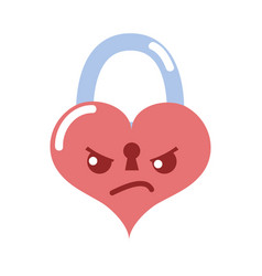 Colorful angry heart padlock kawaii personage vector