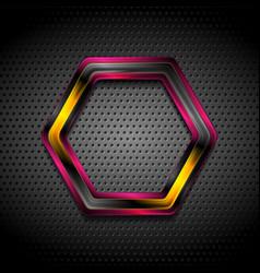 Colorful glossy hi-tech geometric hexagon on vector