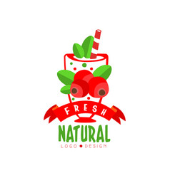 Colorful hand drawn logo with sweet cranberries in vector