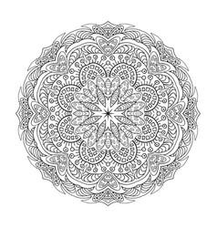 coloring mandala eastern pattern zentangl round vector image