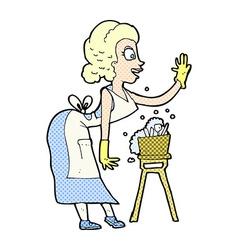 Comic cartoon housewife washing up vector