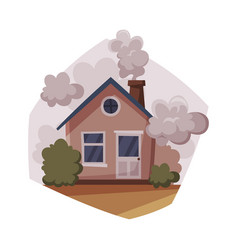 Cottage with smoke coming out from chimney vector
