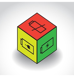 CubeWithBatterySymbolX vector image