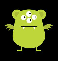 cute green monster icon happy halloween cartoon vector image