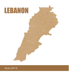 detailed map of lebanon cut out of craft paper vector image