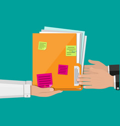 Documents folder with paper sheets sticky notes vector