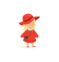 Elegant blonde little girl posing in red hat and vector