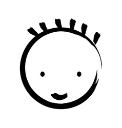 face boy drawn isolated icon design vector image