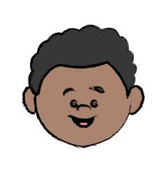 face cute little boy kid avatar person vector image