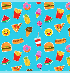 fast food icons and stickers vector image