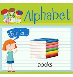 Flashcard letter B is for books vector