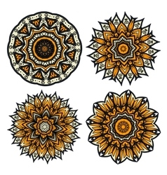 Floral circular patterns of yellow flower buds vector