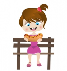 Girl eating hotdog vector