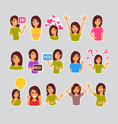 Girl set of stickers for messenger label icon vector