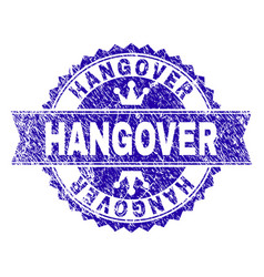 Grunge textured hangover stamp seal with ribbon vector