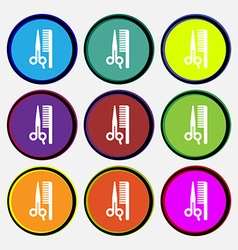Hair icon sign Nine multi colored round buttons vector