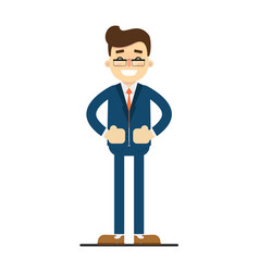 Happy businessman with hands on waist gesture vector