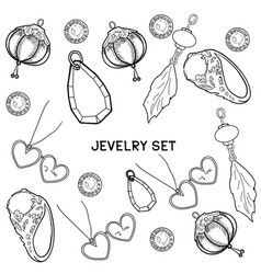 Jewelry set of hand drawing vector