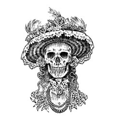 La calavera catrina elegant woman skeleton day vector