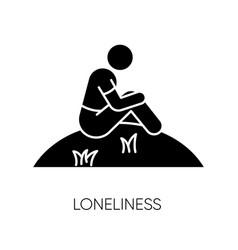 Loneliness black glyph icon vector