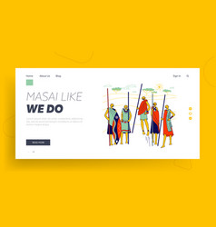 Masai african characters landing page template vector