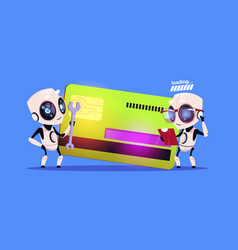 Modern robots standing over credit card reading vector