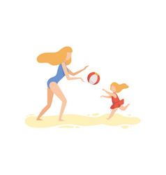 mother and her daughter playing with ball on beach vector image