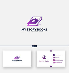 My story book and home logo designs free business vector