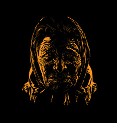 Old woman portrait silhouette in backlight vector
