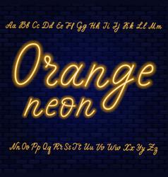 Orange neon script uppercase and lowercase vector