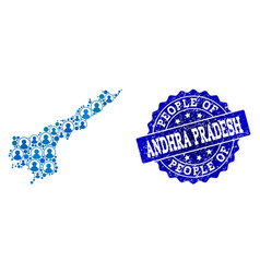 People collage of mosaic map of andhra pradesh vector