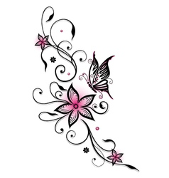 Pink and black flowers vector