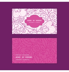 Pink flowers lineart horizontal frame pattern vector