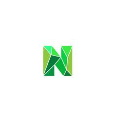 Polygonal trend letter n logotype color vector