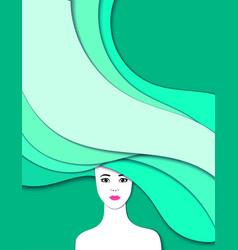 portrait of girl cut of paper 3d vector image