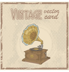 Retro 50s gramophone stylish vintage postcard vector