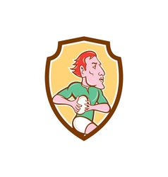 Rugby Player Running Ball Shield Cartoon vector image vector image