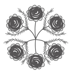 rustic flowers with branches decoration vector image
