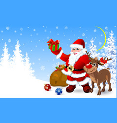 santa and deer with gifts for christmas vector image