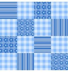 Seamless patchwork pattern blue vector