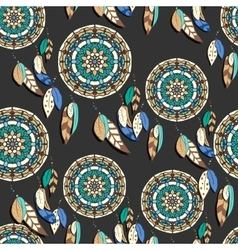Seamless pattern with hand drawn dreamcatchers vector image