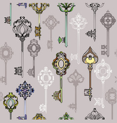 seamless pattern with various ornate vintage keys vector image