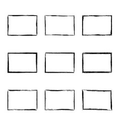 Set hand drawn rectangle frame vector
