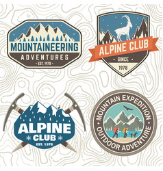 set mountain expedition patch concept vector image