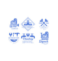 Set of blue logo templates for plumbing and vector
