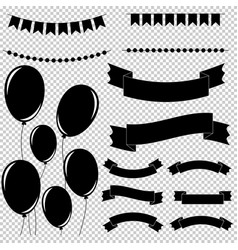Set of flat black isolated silhouettes vector