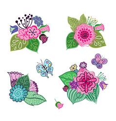 Set of floral arrangements in doodle style vector